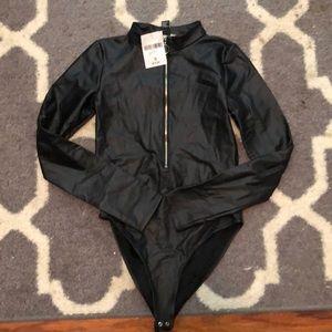 🍍 never used black pleather bodysuit
